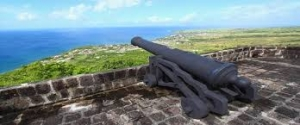 The cannon and stone walls in St. Kitts